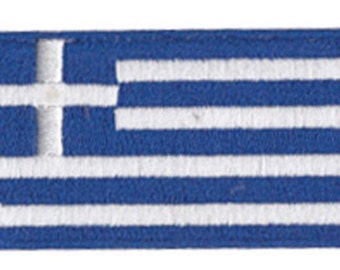 Small Greece Flag Iron On Patch 2.5 x 1.5 inch Free Shipping