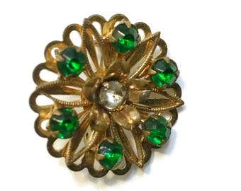 Rhinestone Brooch, Emerald Green Pin, 1940s-1950s,  Mid Century Jewelry, Gold Tone, Floral, Flower
