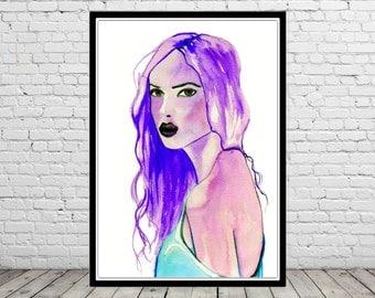 Melancholy, woman portrait, watercolor woman, woman print, Fashion Illustration (2581b)