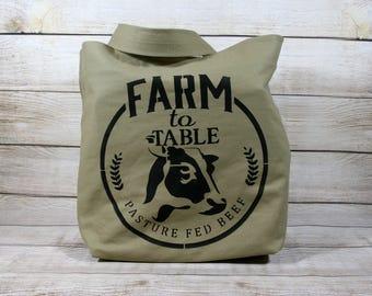 Farm to Table Market Bag, Tote Bag, Shopping Bag, Cow Bag