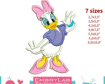 Applique Daisy Duck. Mickey Mouse and Friends. Machine Embroidery Applique Design (16295)