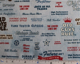 Old Guys Rule fabric by Robert Kaufman in Blue or Cream