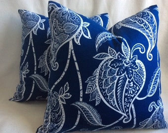 Bold Paisley Designer Pillow Covers - Navy Blue/ White Large Scale Print - 2 pc Set - 19x19 Covers