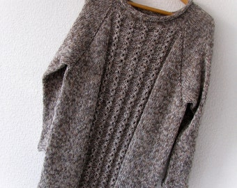 Wool handknit sweater Knitted sweater Christmasinjuly Soft sweater Loose knit sweater Cozy sweater Warm sweater women Mix yarn sweater
