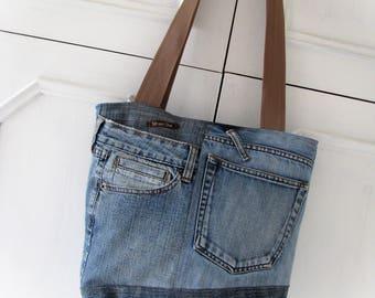Denim bag Jeans bag Patchwork bag Handmade bag  Recycled jeans Jean handbag Jean patchwork Made of jeans