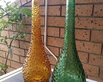 Vintage/Hobnail/Italian/Green/Amber Genie Bottles