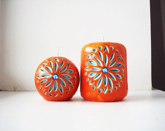 Carved Interior candles-gift set of two carved candles-red blue-new year gift for the new year