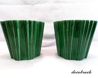 Pair of flower pots vintage green glazed ceramic from Poet laval france vintage French vintagefr