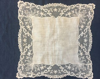 Vintage Wedding Hankie, FREE SHIPPING, STUNNING Large White Tambour Lace Bridal Handkerchief Heirloom Quality Hanky Maid of Honor  Gift