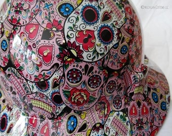 Candy Skulls Full Brim Custom Hydrographic Hard Hat- MSA V-Gard with Fas-Trac III Suspension