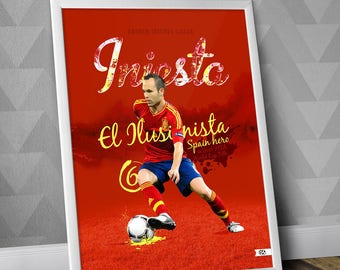 Andrés Iniesta / Spain National Team Print  / FC Barcelona / Illustration Poster Print