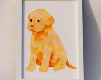 Labrador retriever art print, Custom colours, Dog lover gift, Puppy nursery wall art, Paper collage art, Nursery print, Cute animal art