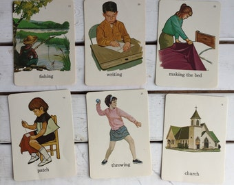 Vintage Flash Card People Actions Media / 70's Flash Cards