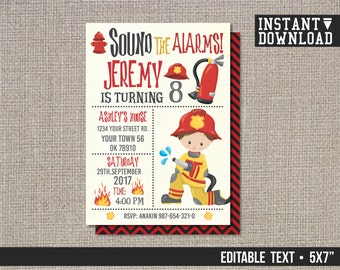 Fire Fighter Birthday Invitation, Fireman Invitation, Fire Fighter Invitation, Fireman Party Invitation - EDITABLE TEXT - Instant Download