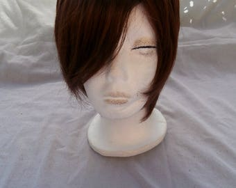 Short Reddish Brown Wig -  Lace Front Mono-top