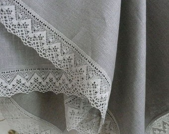 Linen tableclothes with line laces