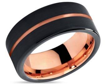 Rose Gold Black Tungsten Wedding Band Ring Rose Gold Ring Tungsten Carbide 9mm 18K Tungsten Man Wedding Band Male Women Anniversary Matching