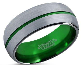 Tungsten Ring Mens Brushed Silver Black Green Wedding Band Tungsten Ring Tungsten Carbide 8mm Tungsten ManMale Women Anniversary Matching