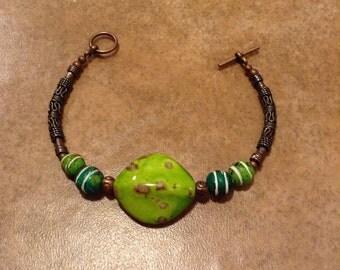 Tribal Look Bracelet, Lime Green Bracelet, Copper Bracelet