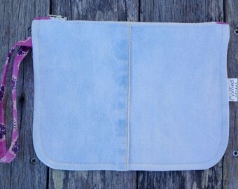 Clutch bag/denim purse/denim clutch / cosmetic bag
