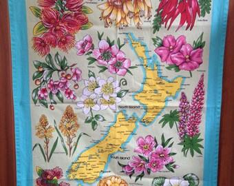 Tea Towel Linen  /kitchen dish towel / vintage / retro / flowers / New Zealand