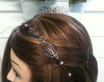 chain headband bronze Ethnic Swarovski cristal and pink glass pearls /serre tete bronze  ethnique en chaine strass et perles rose