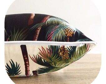 Tropical Cushion Reversible Punalu'u Fabric Beach Coastal Beachouse Island Polynesian Paradise Luxury Designer Holiday Black Palm Tree