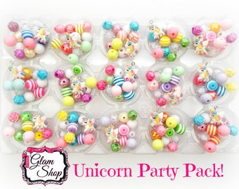 Unicorn Party Favors DIY Bracelet Kits- Pick Your Quantity - Birthday Party Favors, Unicorn Birthday Party. Includes: Beads, Charm, Hardware