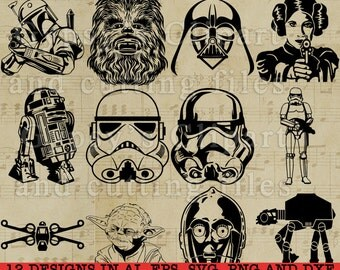 Star Wars SVG, Chewbacca SVG, Yoda SVG, Princess Leia svg, R2D2 svg, Storm Trooper svg, Darth Vader Svg, Cutting Files, Clipart, Vector
