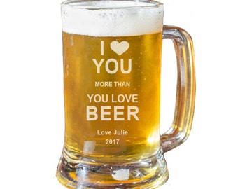 Beer Mug, Valentine's Day, Personalized Beer Glass, Beer Gift, Husband Gift, Boyfriend Gift