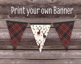 Tartan Christmas Banner - Christmas Party Banner - Reindeer Christmas Bunting - Printable Christmas Banner - woodland party