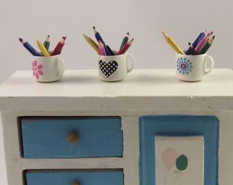 Mug with six colored pencils Miniature dollhouse