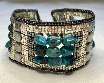 Hand Woven Turquoise Beaded Bracelet