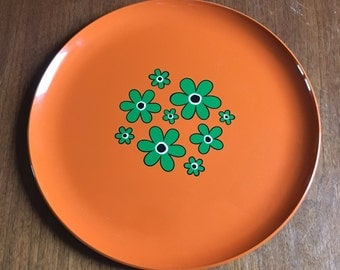 Fun and Funky Flower Power Mid Century Modern Serving Tray -- Drink Tray Orange Green Floral