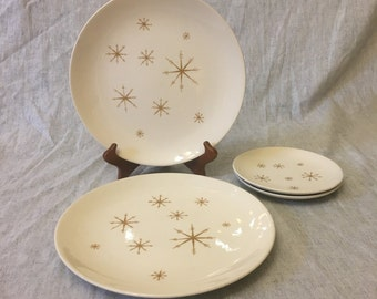 Vintage Royal China Star Glow Dinner and Salad Plates, 4 Pieces, Mid Century Atomic Dishes