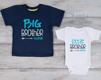 Big Brother Little Brother Personalized Shirts, Navy T-Shirt & White Baby Bodysuit Set
