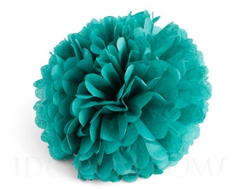 Dark Turquoise - Teal Tissue Paper Pom Poms - Wedding Party Decorations - Baby shower Decorations