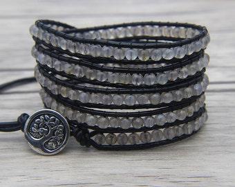 Gray Wap Bracelet Agate beads bracelet 5 rows wraps bracelet Leather wrap bracelet yoga bracelet boho beaded bracelet jewelry SL-0477