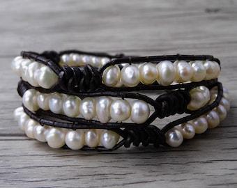 real freshwater pearl bracelet boho wrap bracelet pearl leather Wrap bracelet bead wrap bracelet multi strands bracelet SL-0489