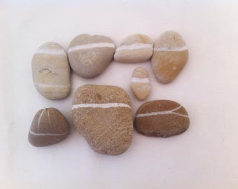8pcs Natural stripy sea pebbles from Zakinthos island, beige pebbles stones, raw coloured pebbles, beach stones supply, craft stones #BS047#