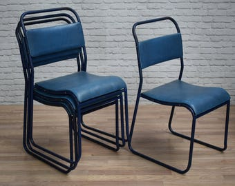 Vintage Industrial Blue Vinyl Covered Cafe Bar Dining Chairs (30 AVAILABLE)