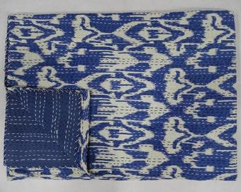 Indian Kantha Quilt Twin Size Bedsheet Cotton Handmade Ikat Design Bedspread Throw Indigo Blue Bedcover