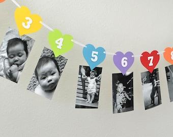 Rainbow Birthday Decoration - Girl First Year Photo Banner -  Rainbow First Birthday Photo Banner - 12 Month Banner - Month By Month Banner