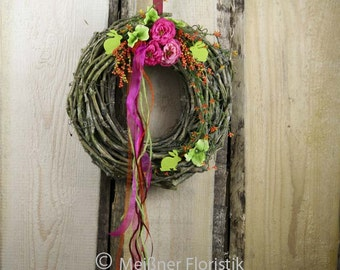 Door wreath bright colorful Easter