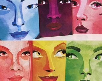 Illustrative Greeting Cards / Colorful Faces Collection / A6 Folded Note Cards / Blank Inside / Set of 6