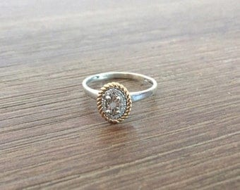 Sapphire Ring; White Sapphire & Diamond Ring; Engagement Ring; Sterling Silver Ring; 10k Gold Ring; Size 6.5 Ring