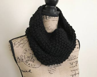 Black knitted scarf, knitted cowl, knitted scarf, black scarf