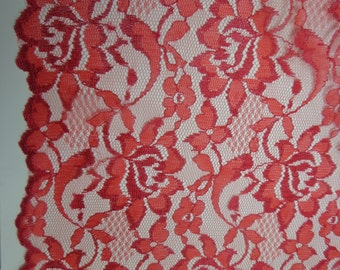 Red Galloon Floral Lace Fabric