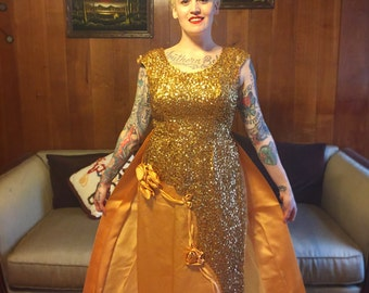 1950's gold satin and sequin full length dress with detachable train