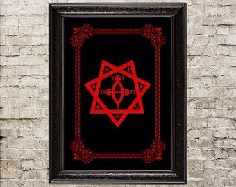 Babalon seal, Star of Babalon, thelema, demonic, Aleister Crowley, ritual, Scarlet woman, gnostic, magick, altar, cosmology, goddess, 205